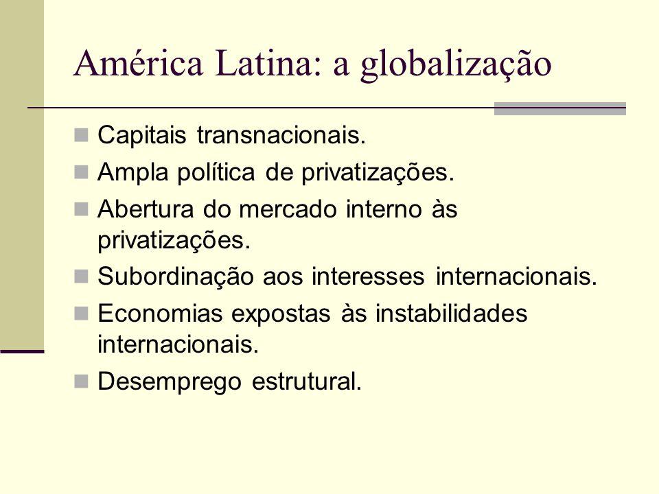 América Latina: a globalização Capitais transnacionais. Ampla política de privatizações. Abertura do mercado interno às privatizações. Subordinação ao
