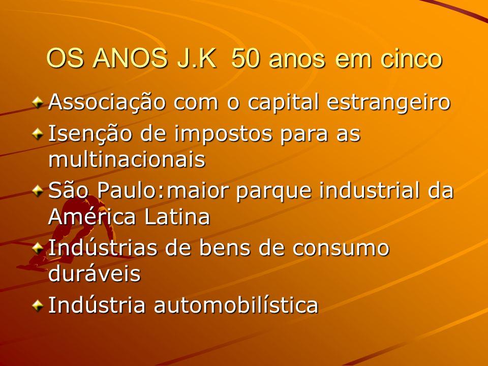 OS ANOS J.K 50 anos em cinco Associação com o capital estrangeiro Isenção de impostos para as multinacionais São Paulo:maior parque industrial da Amér