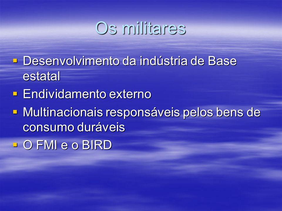 Os militares Desenvolvimento da indústria de Base estatal Desenvolvimento da indústria de Base estatal Endividamento externo Endividamento externo Mul