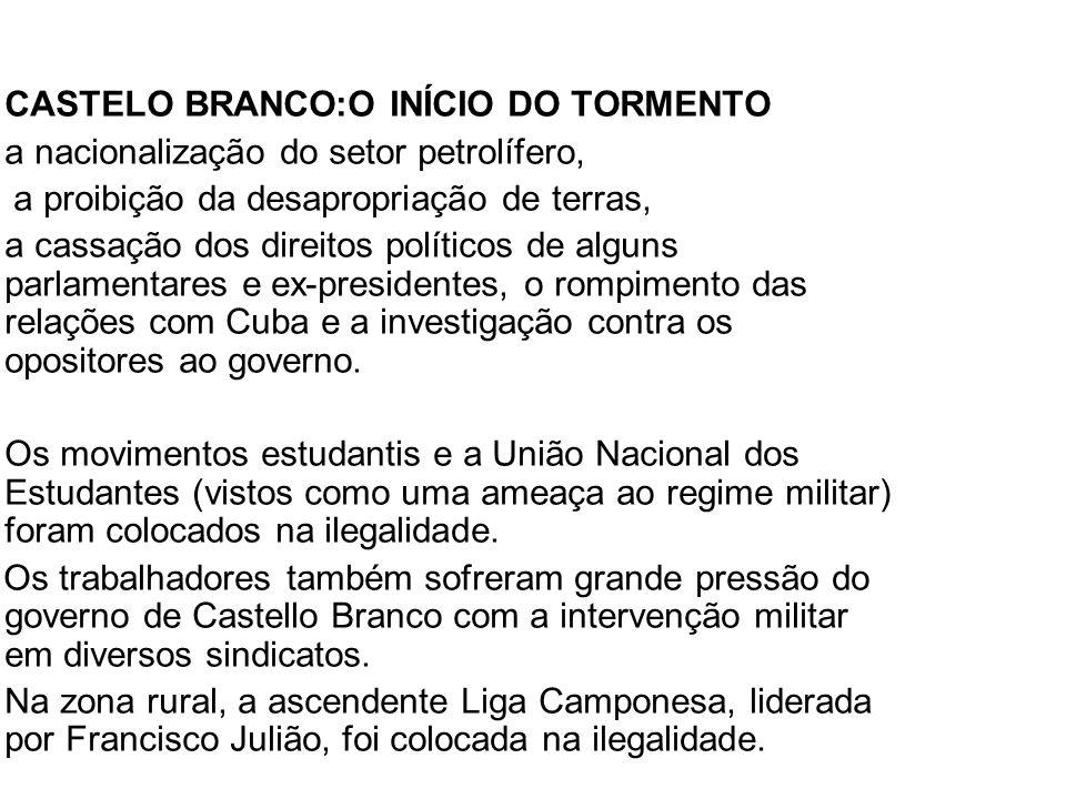 CASTELO BRANCO:O INÍCIO DO TORMENTO a nacionalização do setor petrolífero, a proibição da desapropriação de terras, a cassação dos direitos políticos