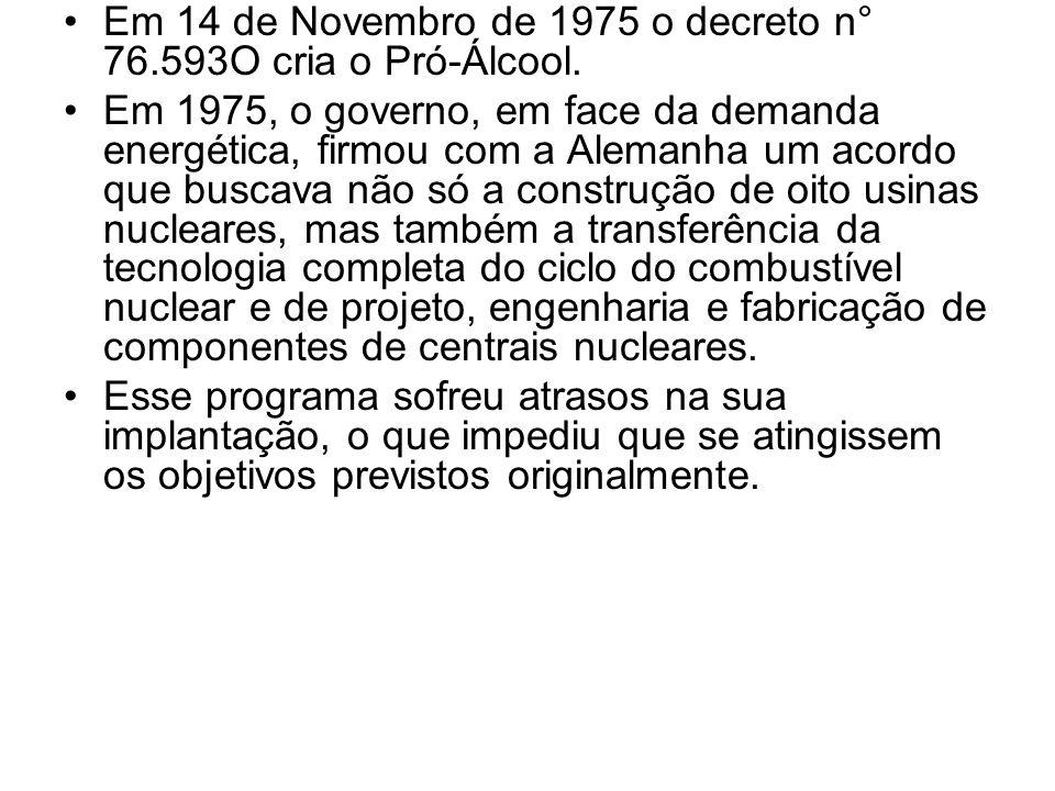 Em 14 de Novembro de 1975 o decreto n° 76.593O cria o Pró-Álcool. Em 1975, o governo, em face da demanda energética, firmou com a Alemanha um acordo q