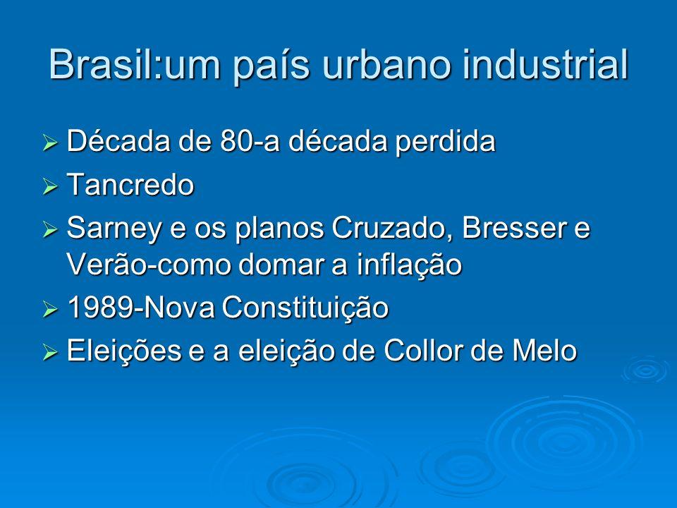 Brasil:um país urbano industrial Década de 80-a década perdida Década de 80-a década perdida Tancredo Tancredo Sarney e os planos Cruzado, Bresser e V