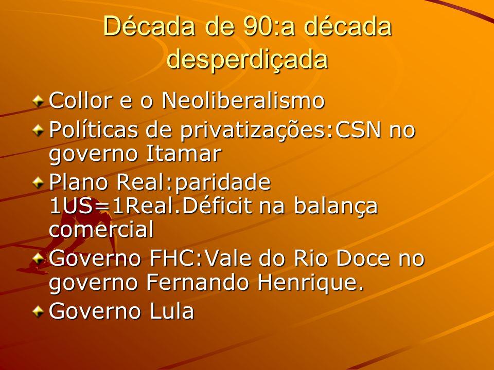 Década de 90:a década desperdiçada Collor e o Neoliberalismo Políticas de privatizações:CSN no governo Itamar Plano Real:paridade 1US=1Real.Déficit na