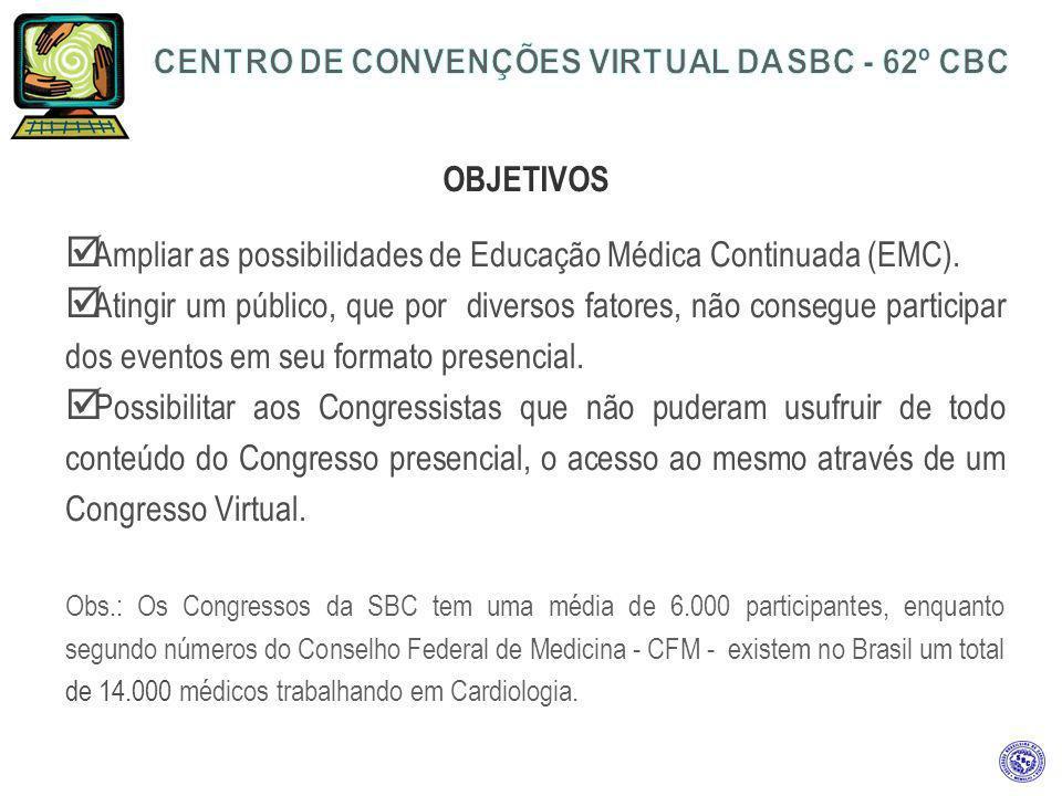 OBJETIVOS Ampliar as possibilidades de Educação Médica Continuada (EMC). Atingir um público, que por diversos fatores, não consegue participar dos eve