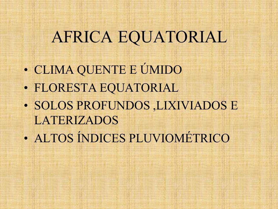 AFRICA EQUATORIAL CLIMA QUENTE E ÚMIDO FLORESTA EQUATORIAL SOLOS PROFUNDOS,LIXIVIADOS E LATERIZADOS ALTOS ÍNDICES PLUVIOMÉTRICO