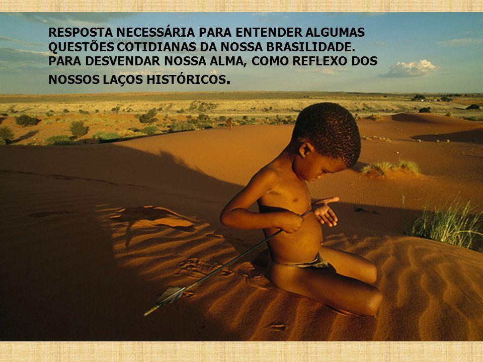 RESPOSTA NECESSÁRIA PARA ENTENDER ALGUMAS QUESTÕES COTIDIANAS DA NOSSA BRASILIDADE. PARA DESVENDAR NOSSA ALMA, COMO REFLEXO DOS NOSSOS LAÇOS HISTÓRICO