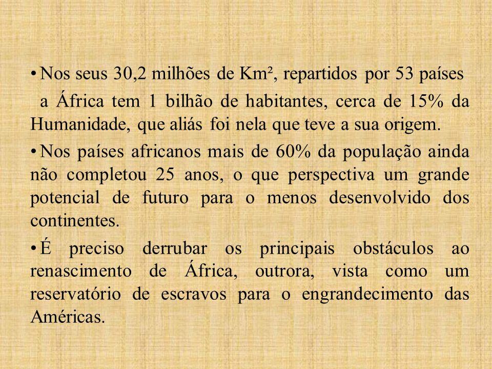 Nos seus 30,2 milhões de Km², repartidos por 53 países a África tem 1 bilhão de habitantes, cerca de 15% da Humanidade, que aliás foi nela que teve a