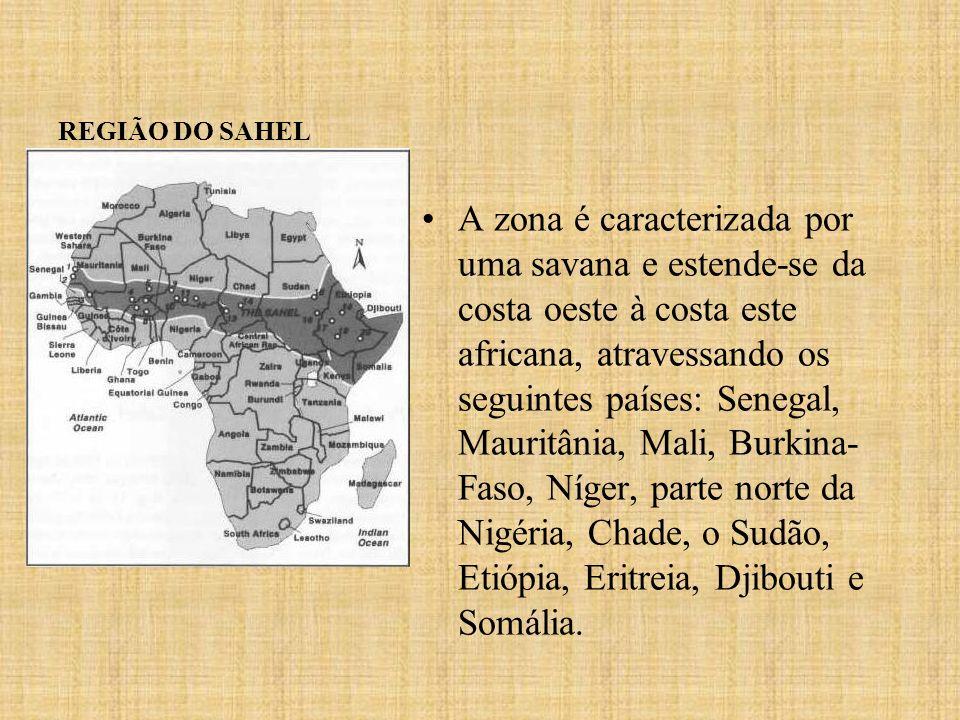REGIÃO DO SAHEL A zona é caracterizada por uma savana e estende-se da costa oeste à costa este africana, atravessando os seguintes países: Senegal, Ma