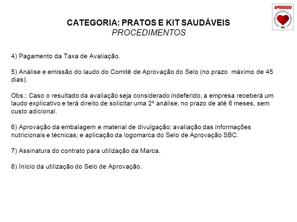 CATEGORIA: PRATOS E KIT SAUDÁVEIS PROCEDIMENTOS 4) Pagamento da Taxa de Avaliação. 5) Análise e emissão do laudo do Comitê de Aprovação do Selo (no pr