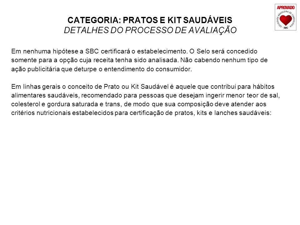 CATEGORIA: PRATOS E KIT SAUDÁVEIS DETALHES DO PROCESSO DE AVALIAÇÃO Em nenhuma hipótese a SBC certificará o estabelecimento. O Selo será concedido som