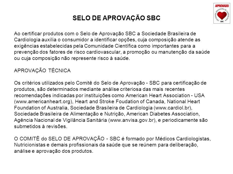 Ao certificar produtos com o Selo de Aprovação SBC a Sociedade Brasileira de Cardiologia auxilia o consumidor a identificar opções, cuja composição at
