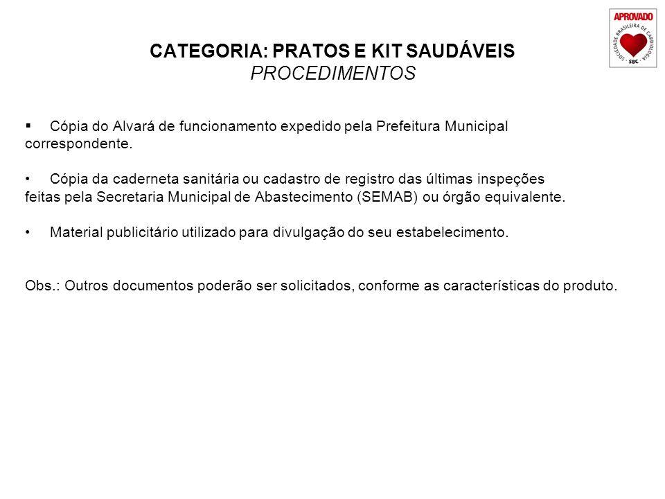CATEGORIA: PRATOS E KIT SAUDÁVEIS PROCEDIMENTOS Cópia do Alvará de funcionamento expedido pela Prefeitura Municipal correspondente. Cópia da caderneta