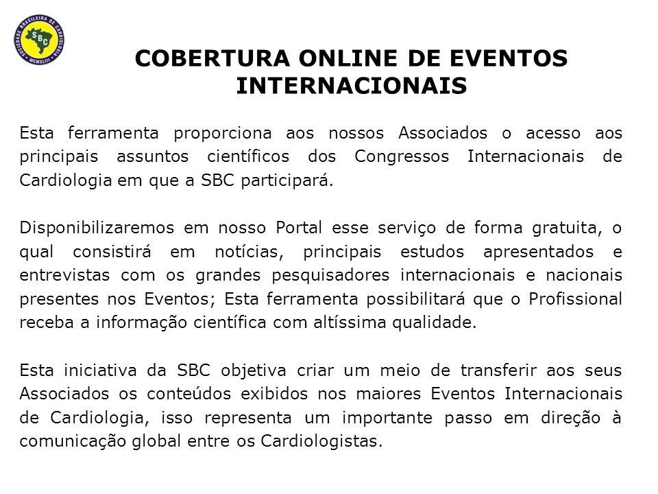 Esta ferramenta proporciona aos nossos Associados o acesso aos principais assuntos científicos dos Congressos Internacionais de Cardiologia em que a SBC participará.