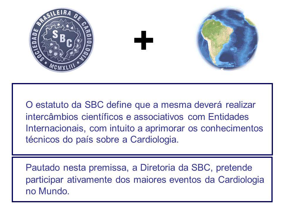 O estatuto da SBC define que a mesma deverá realizar intercâmbios científicos e associativos com Entidades Internacionais, com intuito a aprimorar os
