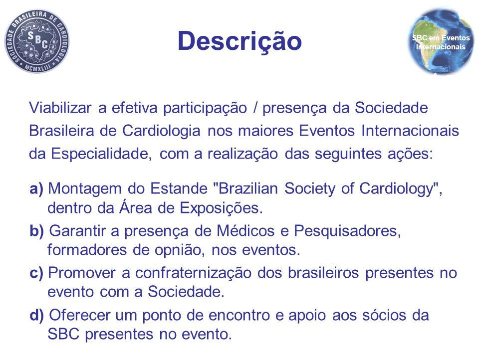 Viabilizar a efetiva participação / presença da Sociedade Brasileira de Cardiologia nos maiores Eventos Internacionais da Especialidade, com a realiza