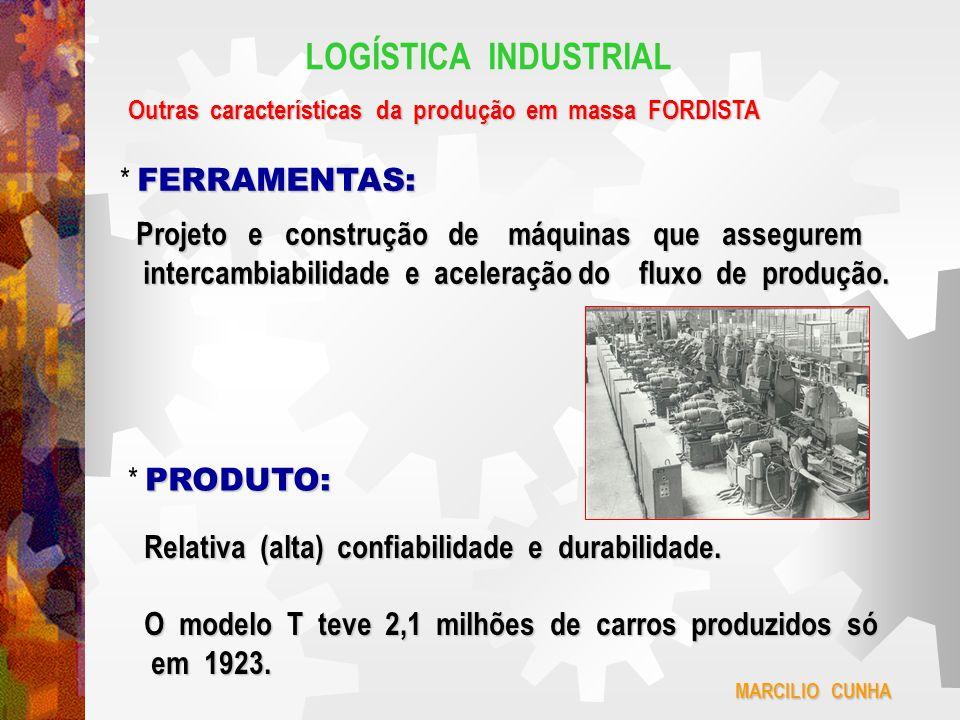 LOGÍSTICA INDUSTRIAL Outras características da produção em massa FORDISTA FERRAMENTAS: * FERRAMENTAS: Projeto e construção de máquinas que assegurem i