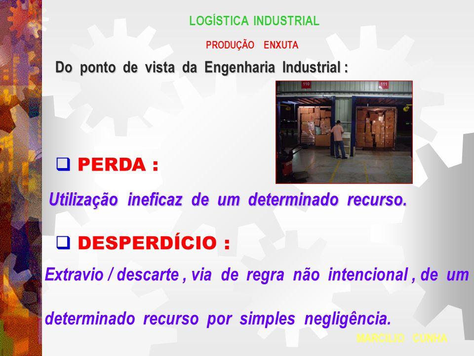 LOGÍSTICA INDUSTRIAL PRODUÇÃO ENXUTA Do ponto de vista da Engenharia Industrial : PERDA : Utilização ineficaz de um determinado recurso. DESPERDÍCIO :