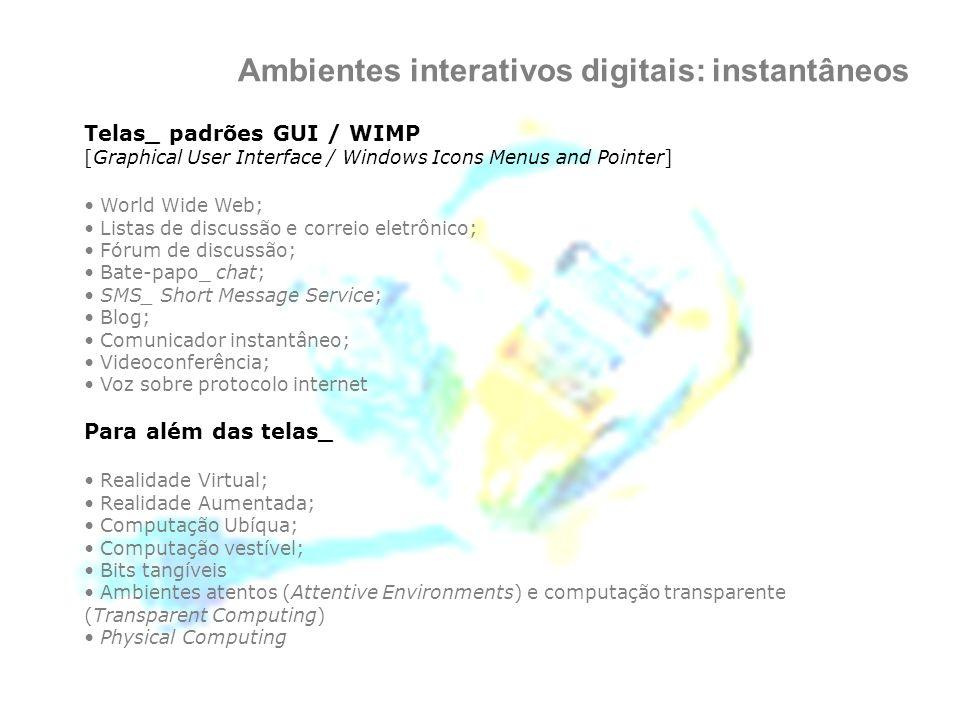 Ambientes interativos digitais: instantâneos Telas_ padrões GUI / WIMP [Graphical User Interface / Windows Icons Menus and Pointer] World Wide Web; Li