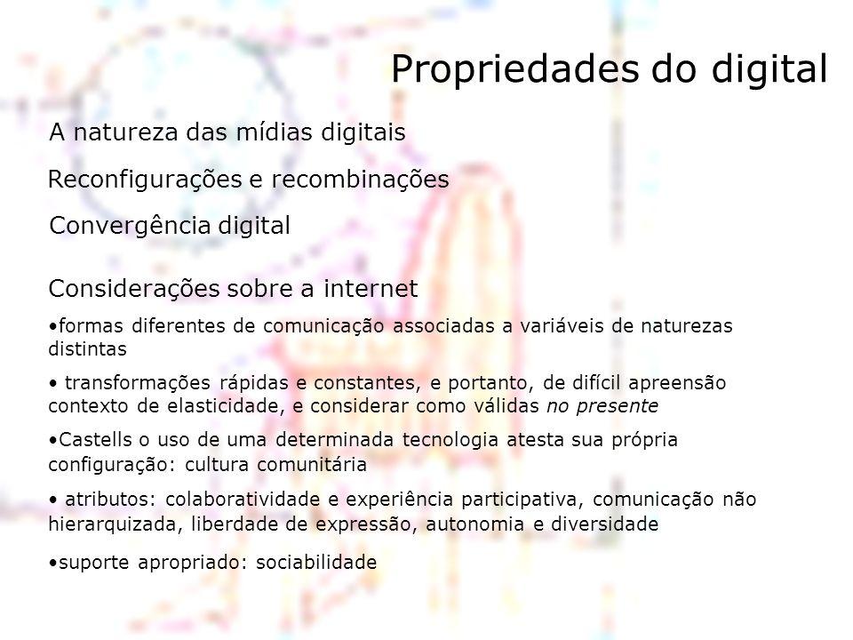 Propriedades do digital A natureza das mídias digitais Reconfigurações e recombinações Convergência digital Considerações sobre a internet formas dife