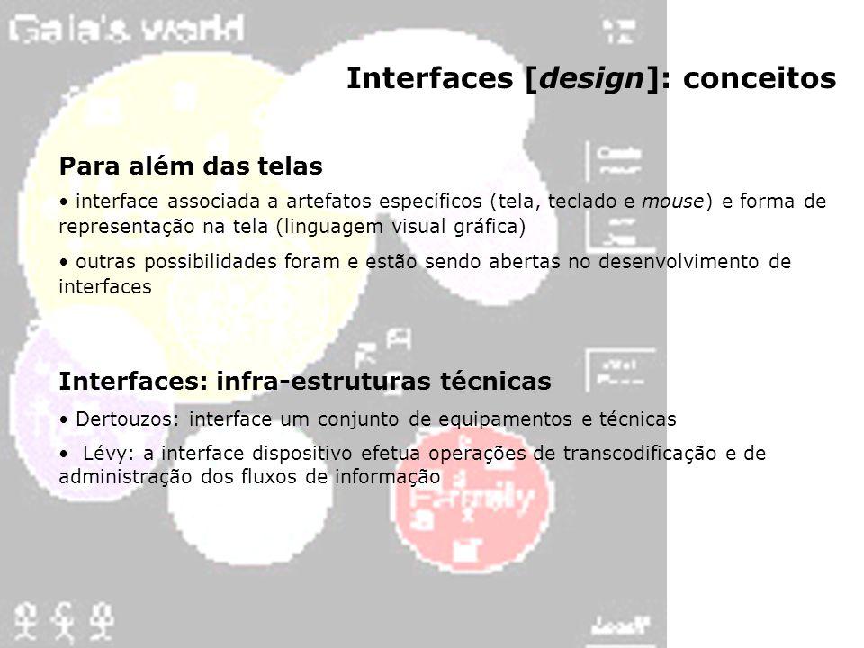 Interfaces [design]: conceitos Para além das telas interface associada a artefatos específicos (tela, teclado e mouse) e forma de representação na tel