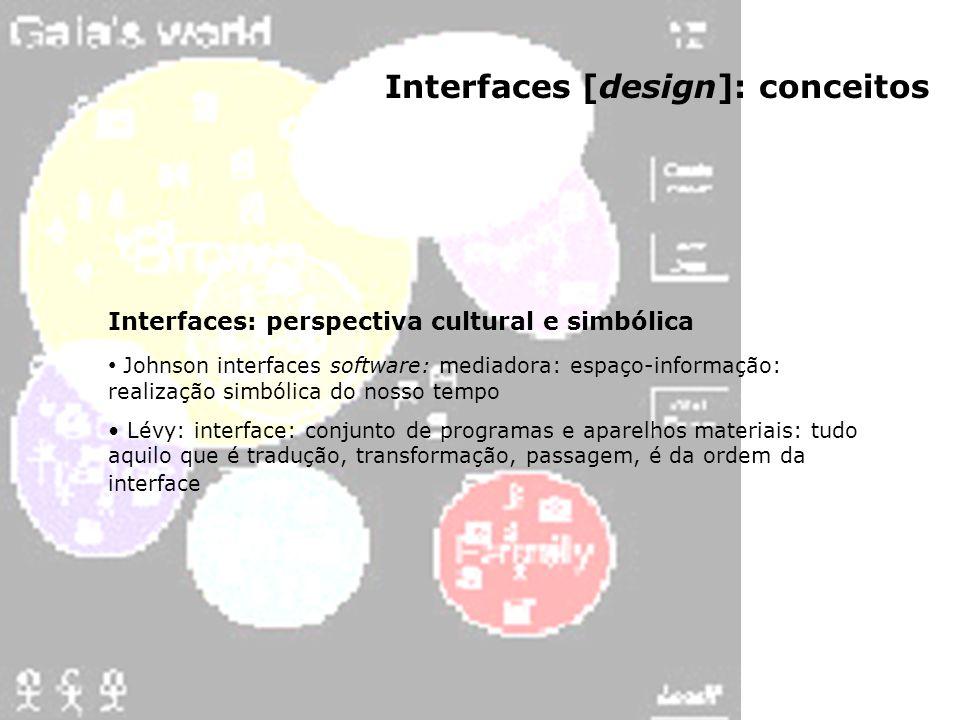 Interfaces [design]: conceitos Interfaces: perspectiva cultural e simbólica Johnson interfaces software: mediadora: espaço-informação: realização simb