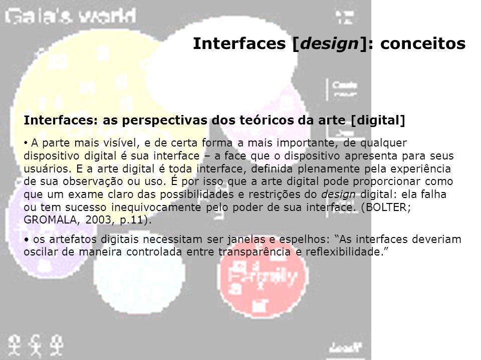 Interfaces [design]: conceitos Interfaces: as perspectivas dos teóricos da arte [digital] A parte mais visível, e de certa forma a mais importante, de