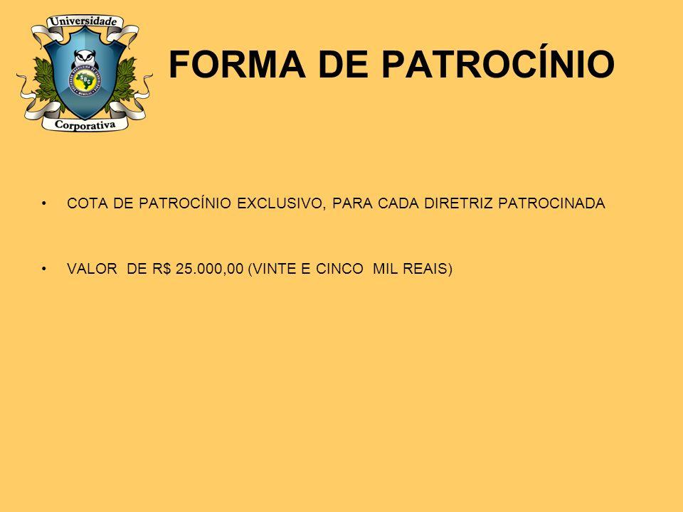 FORMA DE PATROCÍNIO COTA DE PATROCÍNIO EXCLUSIVO, PARA CADA DIRETRIZ PATROCINADA VALOR DE R$ 25.000,00 (VINTE E CINCO MIL REAIS)