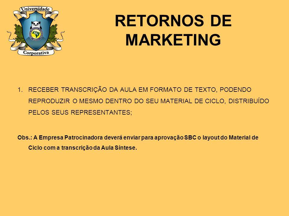 RETORNOS DE MARKETING 1.RECEBER TRANSCRIÇÃO DA AULA EM FORMATO DE TEXTO, PODENDO REPRODUZIR O MESMO DENTRO DO SEU MATERIAL DE CICLO, DISTRIBUÍDO PELOS