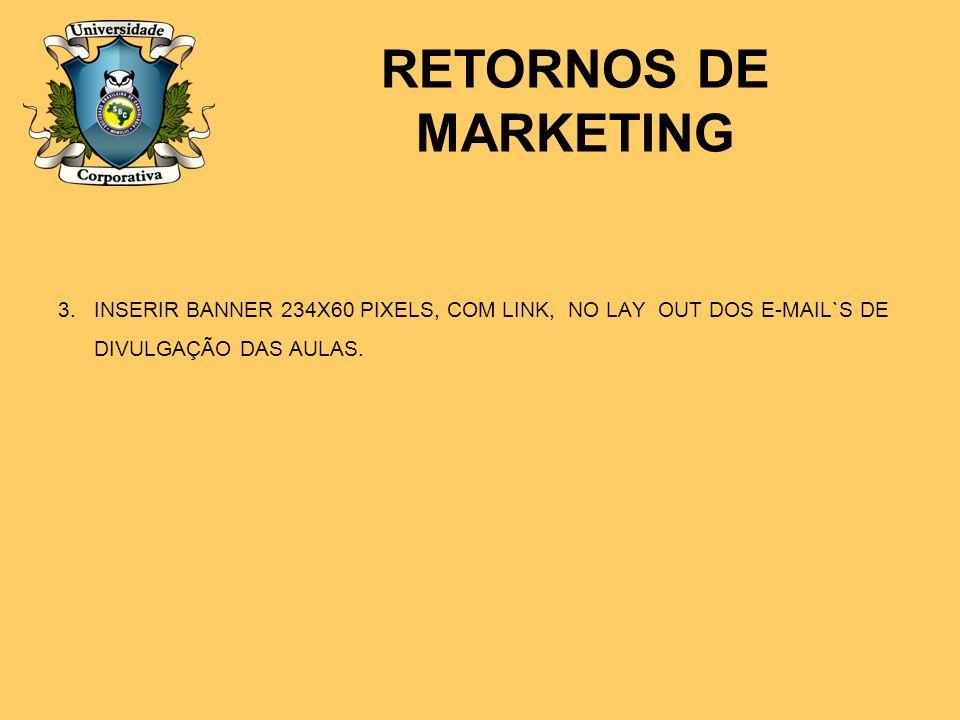3.INSERIR BANNER 234X60 PIXELS, COM LINK, NO LAY OUT DOS E-MAIL`S DE DIVULGAÇÃO DAS AULAS. RETORNOS DE MARKETING