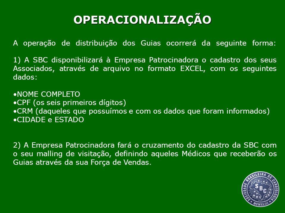 A operação de distribuição dos Guias ocorrerá da seguinte forma: 1) A SBC disponibilizará à Empresa Patrocinadora o cadastro dos seus Associados, atra