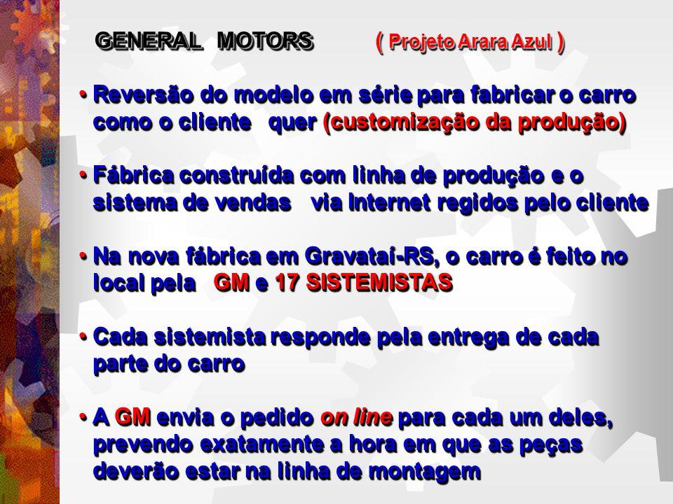 Projeto Arara Azul GENERAL MOTORS - Projeto Arara Azul Um único carro é montado em cerca de 17 horas, contra 22 horas gastas nas fábricas tradicionais.Um único carro é montado em cerca de 17 horas, contra 22 horas gastas nas fábricas tradicionais.