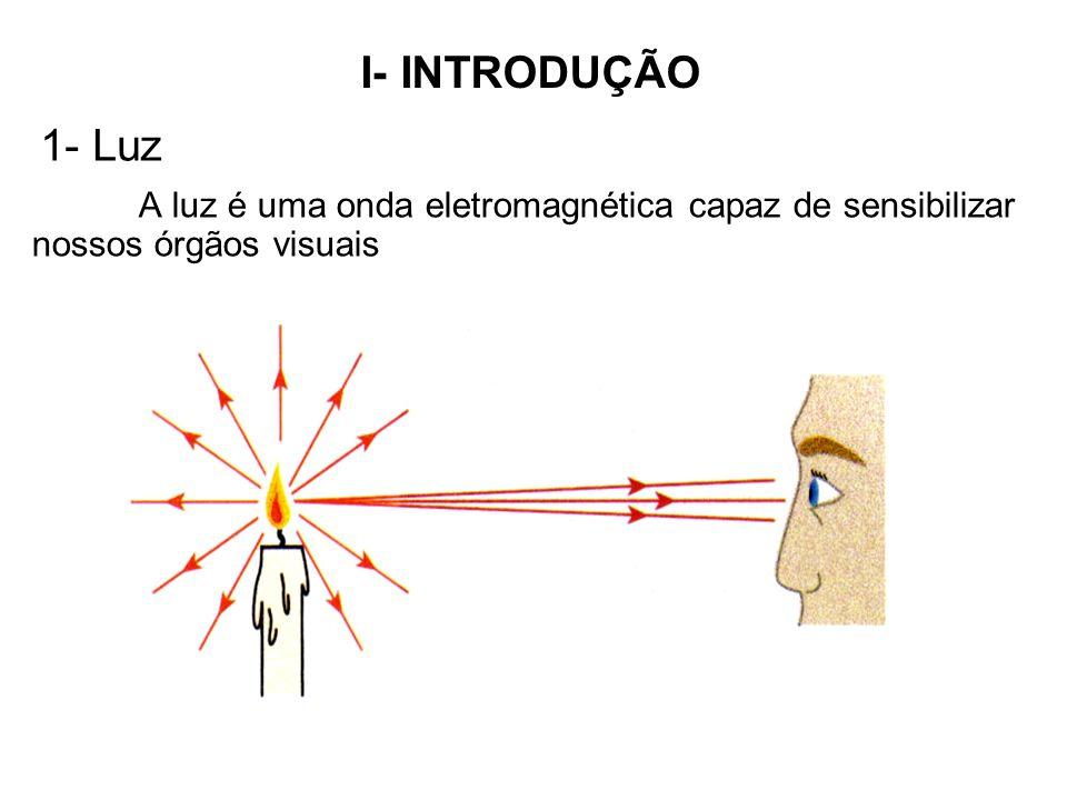 1- Luz A luz é uma onda eletromagnética capaz de sensibilizar nossos órgãos visuais I- INTRODUÇÃO