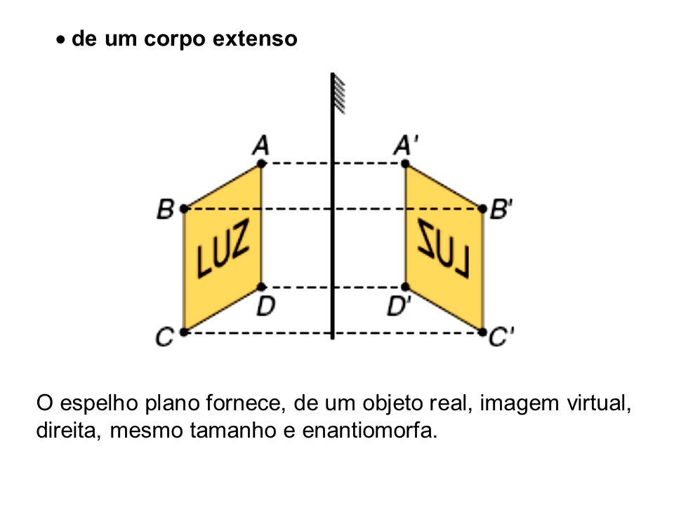 de um corpo extenso O espelho plano fornece, de um objeto real, imagem virtual, direita, mesmo tamanho e enantiomorfa.
