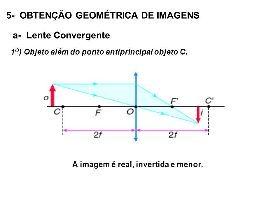 5- OBTENÇÃO GEOMÉTRICA DE IMAGENS a- Lente Convergente 1 O ) Objeto além do ponto antiprincipal objeto C.