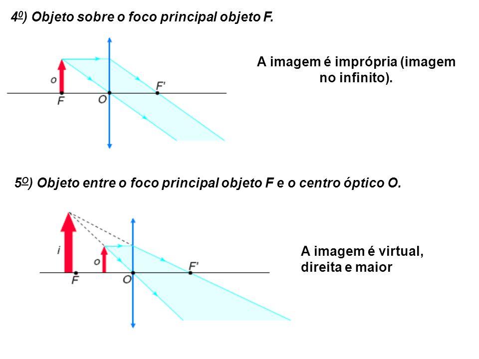 4 0 ) Objeto sobre o foco principal objeto F.A imagem é imprópria (imagem no infinito).
