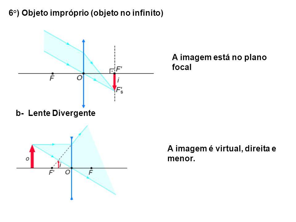 6°) Objeto impróprio (objeto no infinito) A imagem está no plano focal b- Lente Divergente A imagem é virtual, direita e menor.