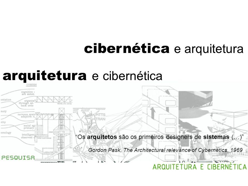 arquitetura e cibernética a arquitetura é uma ciência cibernética por natureza desenvolver projetos que considerem padrões dinâmicos ênfase ao processo de projeto diálogo entre obra e usuário