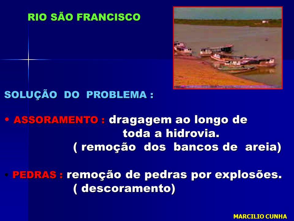 SOLUÇÃO DO PROBLEMA : ASSORAMENTO : dragagem ao longo de toda a hidrovia. toda a hidrovia. ( remoção dos bancos de areia) ( remoção dos bancos de arei