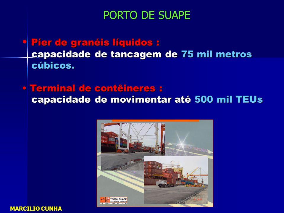 Píer de granéis líquidos : capacidade de tancagem de 75 mil metros capacidade de tancagem de 75 mil metros cúbicos. cúbicos. Terminal de contêineres :