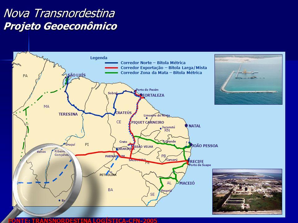 Fonte:CFN, análise da equipe SÃO LUÍS TERESINA NATAL RECIFE MACEIÓ Porto do Pecém Crato MISSÃO VELHA Caruarú PA MA PI CE RN PB PE AL SE JOÃO PESSOA CR