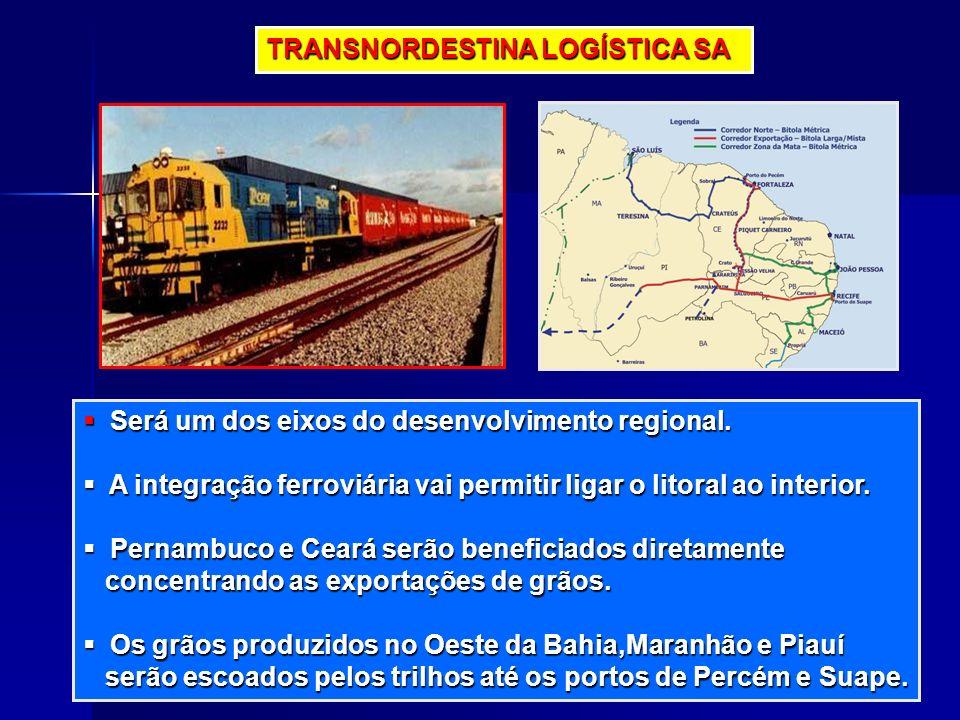TRANSNORDESTINA LOGÍSTICA SA Será um dos eixos do desenvolvimento regional. Será um dos eixos do desenvolvimento regional. A integração ferroviária va