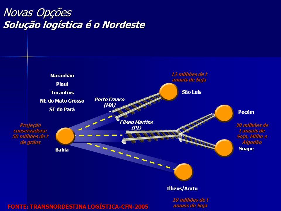 Novas Opções Solução logística é o Nordeste Porto Franco (MA) São Luis Ilhéus/Aratu Bahia Maranhão Piauí Tocantins NE do Mato Grosso SE do Pará 10 mil