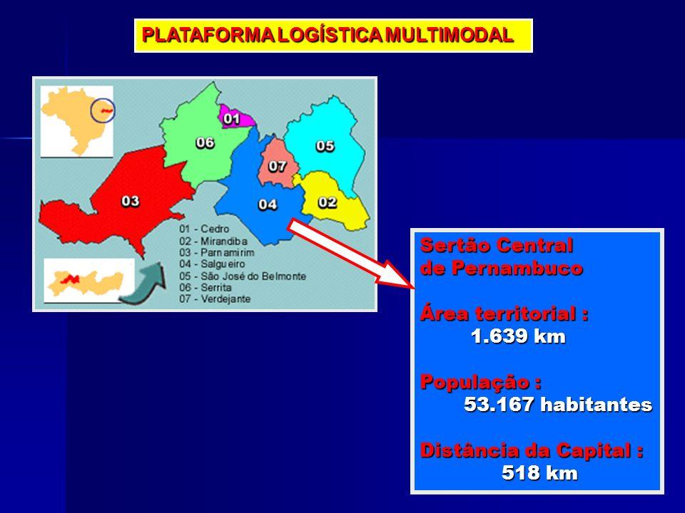 Sertão Central de Pernambuco Área territorial : 1.639 km 1.639 km População : 53.167 habitantes 53.167 habitantes Distância da Capital : 518 km 518 km