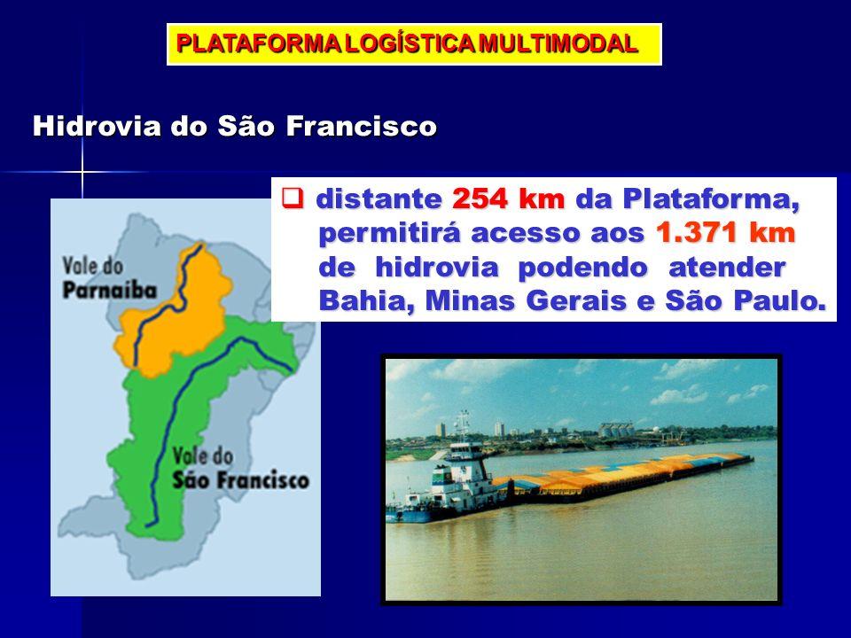 PLATAFORMA LOGÍSTICA MULTIMODAL Hidrovia do São Francisco distante 254 km da Plataforma, distante 254 km da Plataforma, permitirá acesso aos 1.371 km