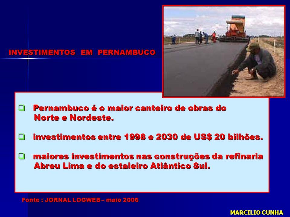 Fonte : JORNAL LOGWEB – maio 2006 Pernambuco é o maior canteiro de obras do Pernambuco é o maior canteiro de obras do Norte e Nordeste. Norte e Nordes