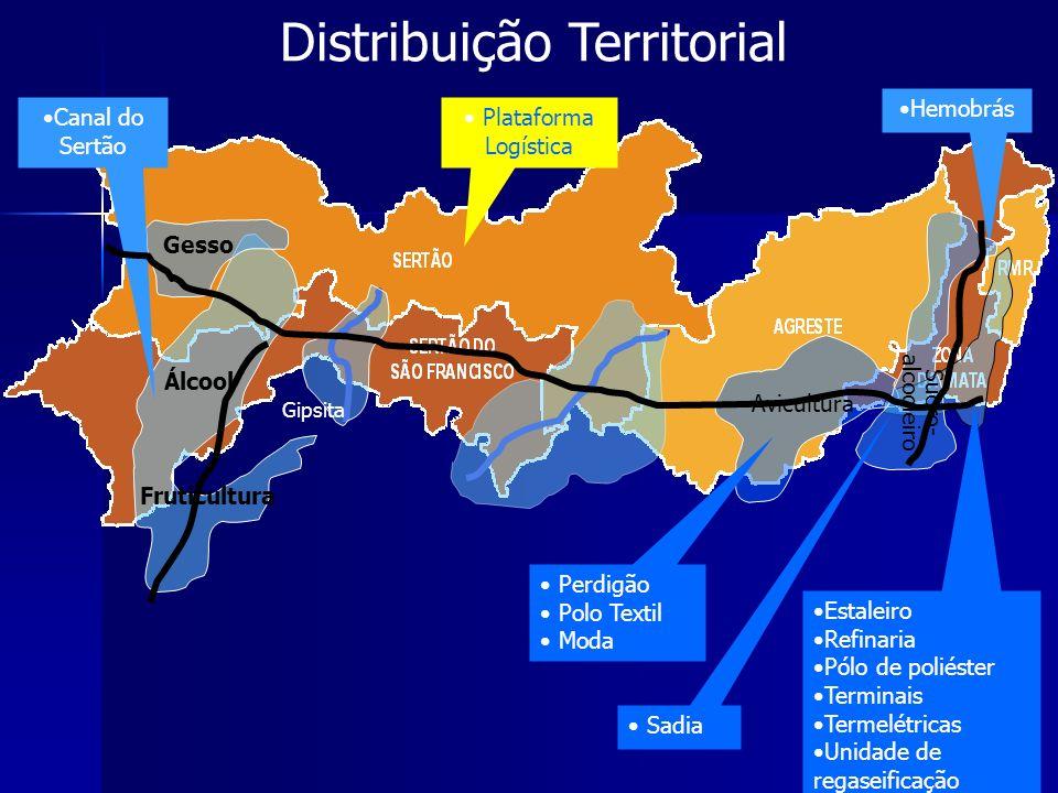 Estaleiro Refinaria Pólo de poliéster Terminais Termelétricas Unidade de regaseificação Hemobrás Álcool Gesso Avicultura Sucro- alcooleiro Distribuiçã