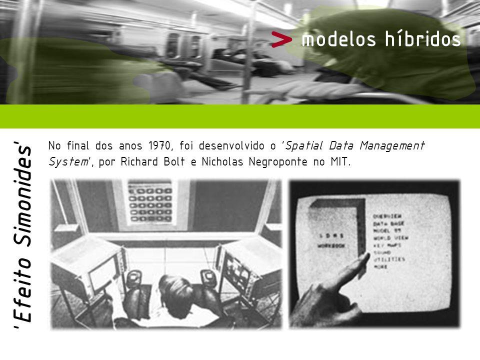 > modelos híbridos No final dos anos 1970, foi desenvolvido o Spatial Data Management System, por Richard Bolt e Nicholas Negroponte no MIT. Efeito Si