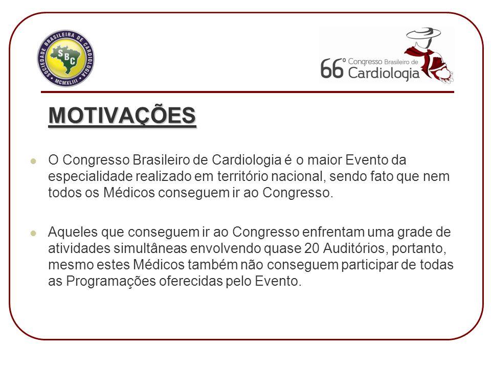 MOTIVAÇÕES O Congresso Brasileiro de Cardiologia é o maior Evento da especialidade realizado em território nacional, sendo fato que nem todos os Médicos conseguem ir ao Congresso.