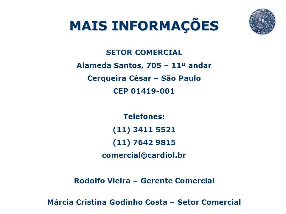 SETOR COMERCIAL Alameda Santos, 705 – 11º andar Cerqueira César – São Paulo CEP 01419-001 Telefones: (11) 3411 5521 (11) 7642 9815 comercial@cardiol.b