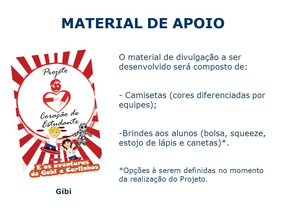 MATERIAL DE APOIO Gibi O material de divulgação a ser desenvolvido será composto de: - Camisetas (cores diferenciadas por equipes); -Brindes aos alunos (bolsa, squeeze, estojo de lápis e canetas)*.